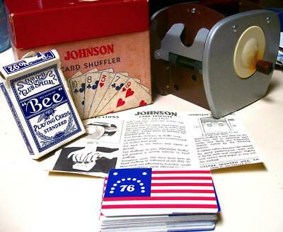 Vintage JOHNSON CARD SHUFFLER in ORIGINAL BOX-INSTRUCTIONS-CARDS-WORKS--Estate
