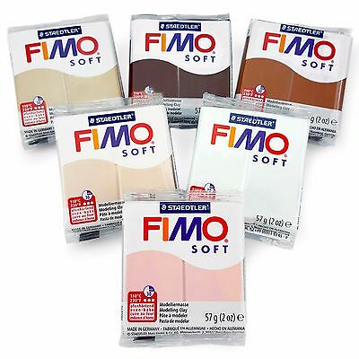 FIMO Soft Polymer Oven Modelling Clay - 57g - Set of 6 - Skin Tone Colours