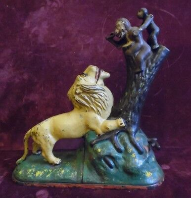 Original 1883 Cast Iron Lion And Two Monkeys Mechanical Bank by Kyser & Rex