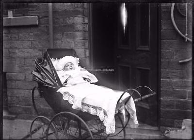 Victorian Social History Baby In A Pushchair Glass Plate Negative