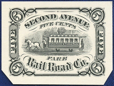 AMERICAN BANK NOTE Co. ENGRAVING: 200b SECOND AVE RAIL ROAD CO 5¢ MANHATTAN NY