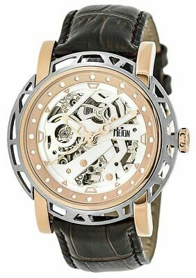 Reign Mens Stavros Automatic Skeleton Dial Crocodile-Embossed Leather: REIRN3703