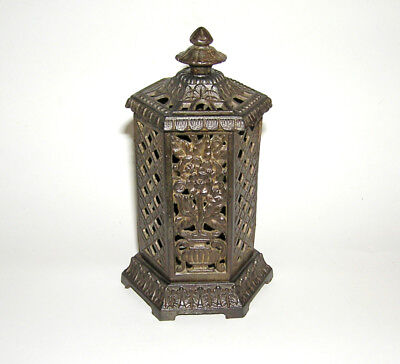 Rare Cast Iron Space Heater with Flowers Architectural Bank NO RES (DAKOTApaul)
