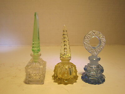 3 Different OLD Marked Czechoslovakia Glass Perfume Bottles With Stoppers