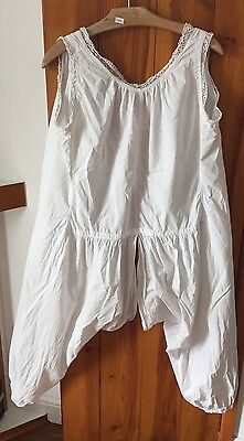 Victorian white combination lace trimmed split bloomers all in one c1880