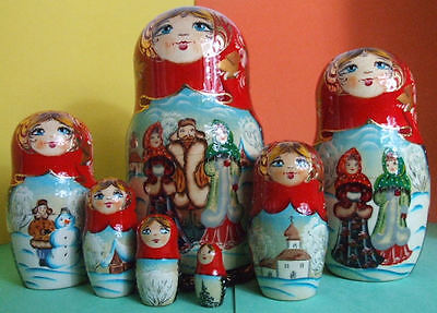 7pcs. Hand Painted Russian Nesting Doll RUSSIAN VILLAGE SCENES