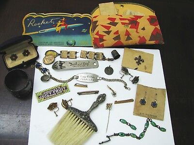Lot of Vintage Jewelry Gold Silver Pins Sterling Thimble Fobs Etc. Junk Drawer