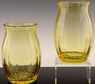 Absolutely Incredible Pair Very Large Signed Moser Czech Yellow Cut Glass Vases