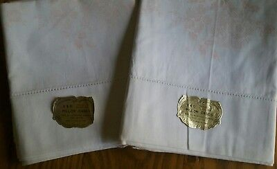 2 Vintage 100% Cotton Pillowcases ~ Stamped For Embroidery ~ Floral Design