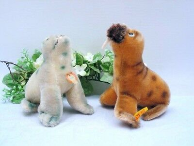STEIFF WALRUS 1959 and SEAL ROBBY, 10 cm both with ID's