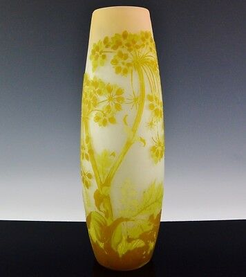 AMAZING V.LARGE c1900 ART NOUVEAU SIGNED GALLE FRENCH CAMEO CUT ART GLASS VASE