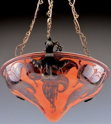 Fantastic Art Deco French Cameo Cut Glass Ceiling Lamp Muller Freres Schneider