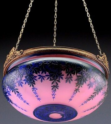BEAUTFUL c1920 ART DECO MICHEL FRENCH CAMEO ART GLASS CEILING LAMP FIXTURE SHADE