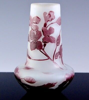 LOVELY c1910 SIGNED GALLE FRENCH CAMEO CUT ART GLASS PURPLE FLOWERS CABINET VASE
