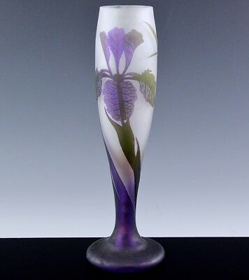 GORGEOUS c1920's LARGE ART DECO RICHARD LOETZ CAMEO CUT PURPLE IRIS GLASS VASE