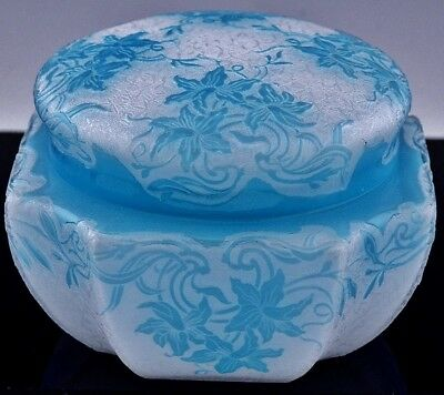 EXQUISITE c1920 ART DECO FRENCH CAMEO CUT ART GLASS BLUE WHITE POWDER JAR  GALLE