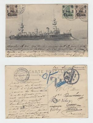 China Old Postcard Chanzy Cruiser Shanghai To France 1907 !!