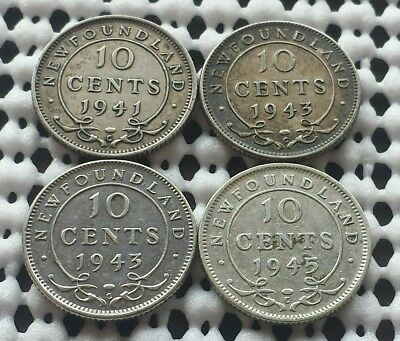 Lot of 4 Dimes ❀ Newfoundland ❀ Canada Silver 10 Cent Collection