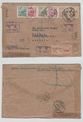 China Old Cover Envelope  Registered Shanghai To Austria 1927 !!