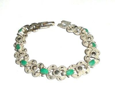 "Elegant 6-1/2"" Silver Link Bracelet with Faceted Green and Marcasite Stones"