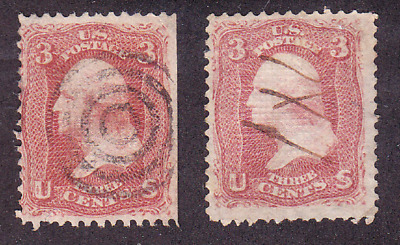 US Scott 88 & 94 old 3c Washington E & F grill fancy cancels U/F-VF CV $40