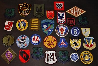 WWII Army Air Force ROTC Unit Uniform Insignia Military Service 30 Patches Lot