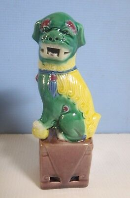 Vintage porcelain foo dog retired hand painted yellow green colour mid 1900-s