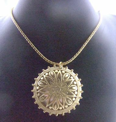 Anne Klein Vintage Caged faux Pearl Cabochon Ornate Cast Long Pendant Necklace