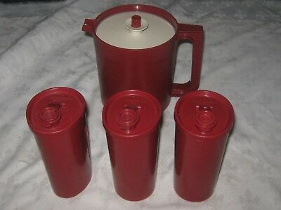 4 x Vintage Maroon Tupperware Pitcher Push Button Lid & Pour Lid Containers