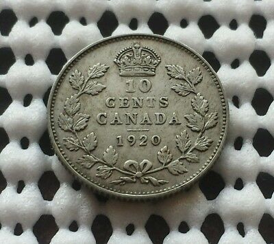 1920 Dime ❀ King George V ❀ Canada Silver 10 Cent Coin