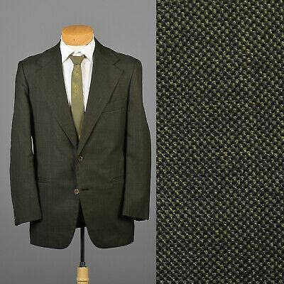 42L Mens 1970s Green Sharkskin Jacket Wide Lapel Vintage 70s Sportcoat 2 Button
