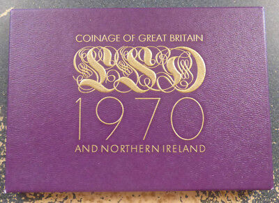 Great Britain 8 Coin Proof Set, 1970, Final Year of LSD Coinage, QEII, KM# PS 26