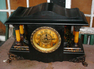 Antique Seth Thomas Adamantine Marblized Mantle Shelf Clock W/ 4) Columns  Nr