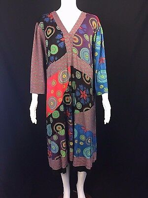 The Pyramid Connection Dress Plus Sz 2X Pieced Patchwork Boho Lagenlook