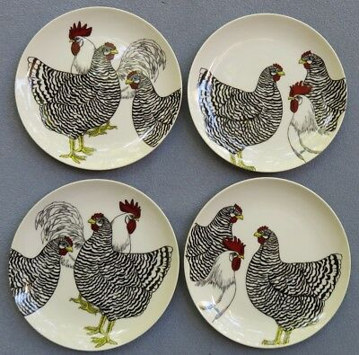 FOUR Fitz and Floyd Coq du Village White Rooster and Barred Chicken Salad Plates