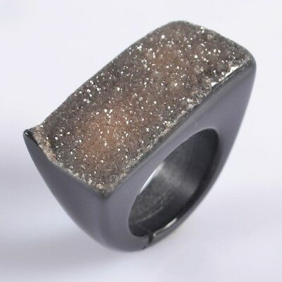 Defective Size 7.5 Black Agate Druzy Geode Band Ring T047080