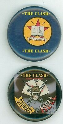 2 Vintage 1980s The Clash Music Tour LP Promo Pinback Buttons - Straight To Hell