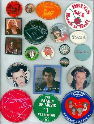 20 Vintage 70s-80s  Rock Music Groups Promo Pinback Buttons Supertramp The Doors