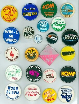 23 Vintage 70s-80s Radio Station Promo & Advertising Pinback Buttons 105.9 FM