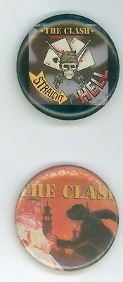 2 Vintage 1980s The Clash Musical Group Promo Pinback Buttons