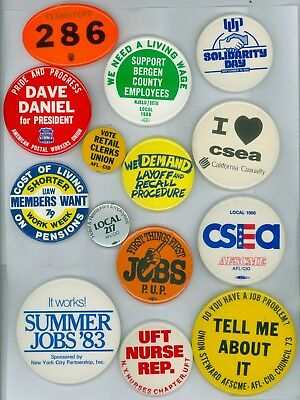 14 Vintage 70s-80s Trade Union Dues Pinback Buttons CSEA 1000 Teamsters 286