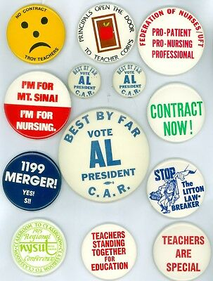 13 Vintage 1970s-80s Teachers Trade Union Dues Pinback Buttons Contract Now