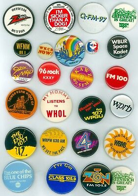 25 Vintage 1970s-80s Radio Stations Advertising Pinback Buttons Z-100 92 FM WMAD