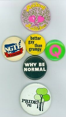 6 Vintage 1970s-80s Gay Pride Cause Pinback Buttons - Better Gay Than Grumpy