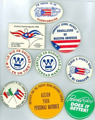 9 Vintage 1970s-80s Puerto Rico Pride & Heritage Political Cause Pinback Buttons