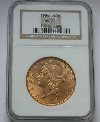 1904 $20 Twenty Dollar Double Eagle Liberty Gold Coin NGC MS 63