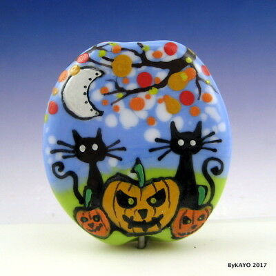 """THE PUMPKIN PATCH KIDS"" byKAYO a Handmade CAT Lampwork Art Glass Focal Bead SRA"