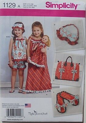 """Simplicity 1129 Girls 18"""" Doll Dress Tops Short Slippers Bag Sewing Pattern 3-8"""