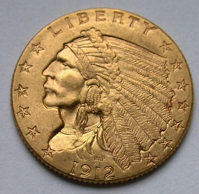 1912 $2.50 Dollar United States Indian Head Quarter Eagle Gold Coin $2 1/2