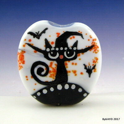 """THE WONDERFUL WITCH"" byKAYO a Handmade CAT Lampwork Art Glass Focal Bead SRA"
